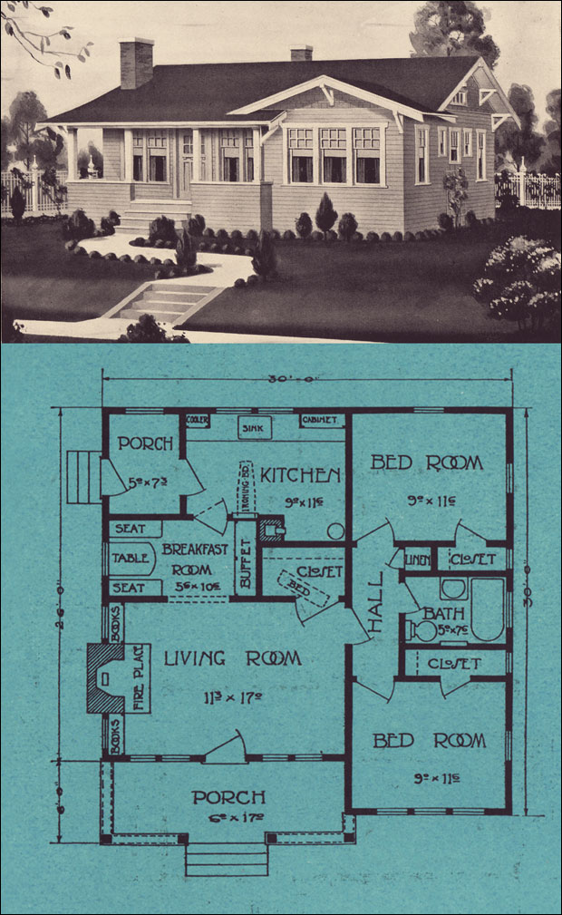 Single floor modern bungalow 1924 stetson post vintage for Stetson homes floor plans