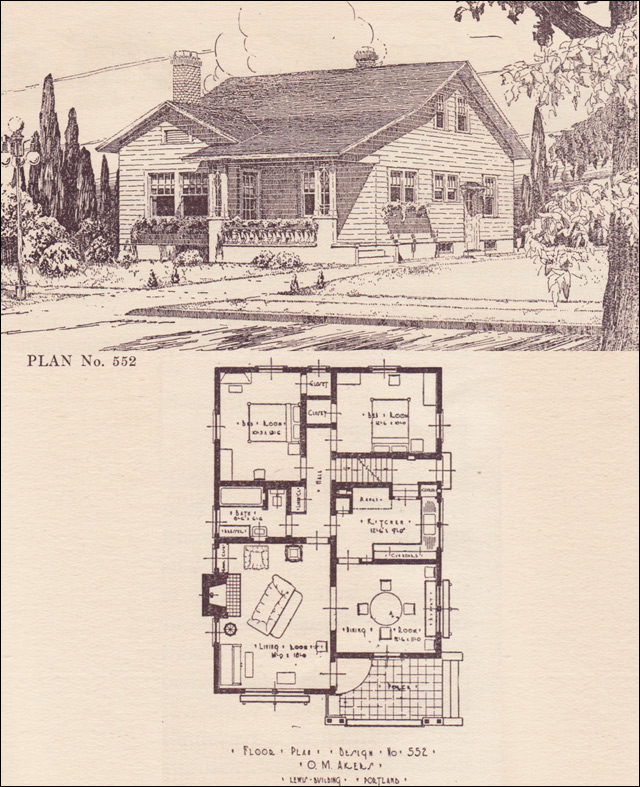 1920s modern traditional bungalow no 552 architect for House plans portland oregon