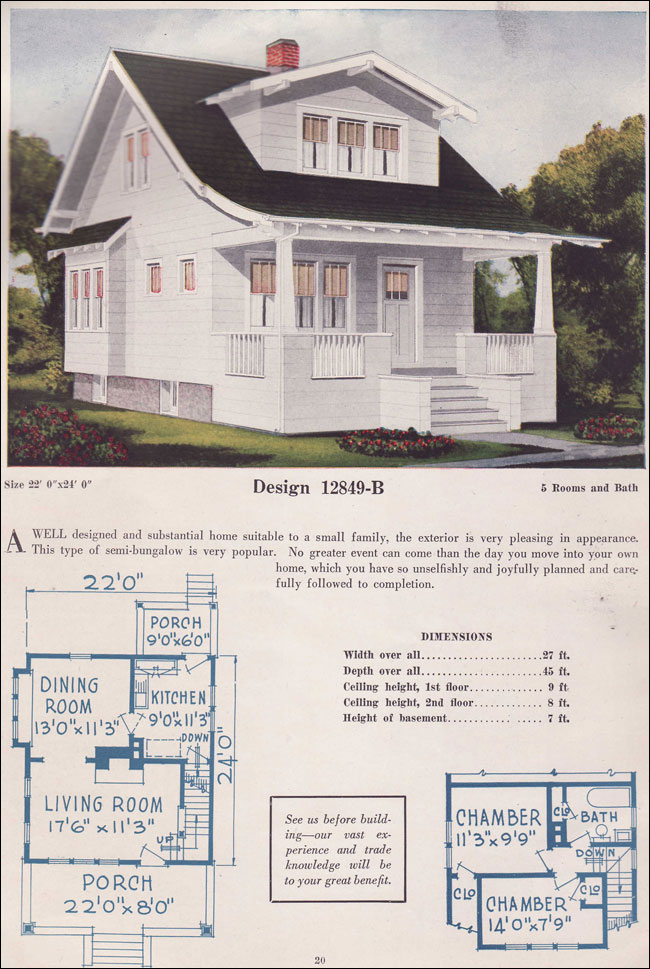 1925 bungalow story and a half gabled dormer c l