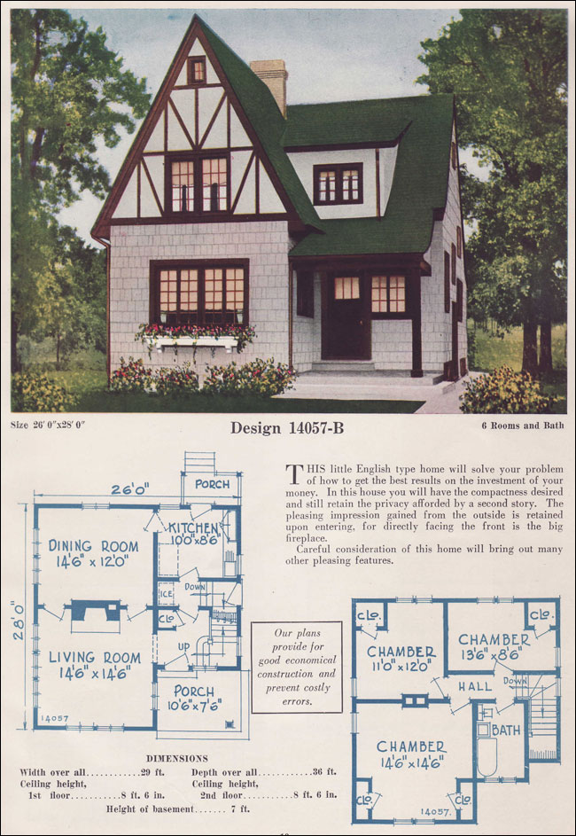 Two story english cottage half timber stucco 1925 c l for 1925 bungalow floor plan