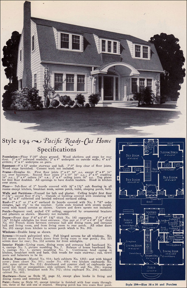 Dutch colonial revival 1925 pacific ready cut homes for 1925 house styles
