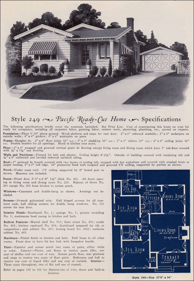 1925 california bungalow cottage pacific ready cut homes for Ready made house plans