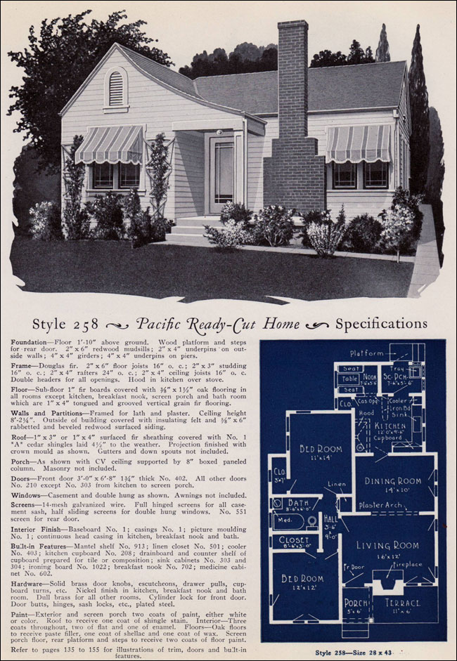 Modern eclectic colonial cottage no 258 1925 pacific for Ready made house plans