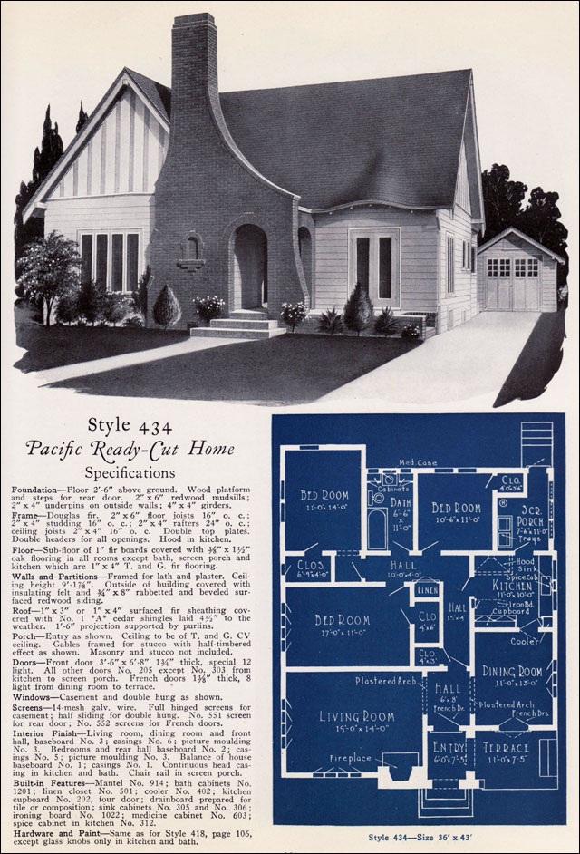 California English Eclectic Cottage No 434 1925