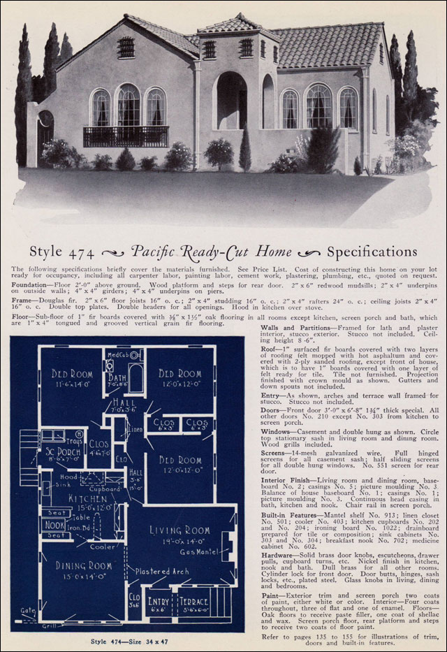 1925 California Spanish Revival House Pacific Ready Cut