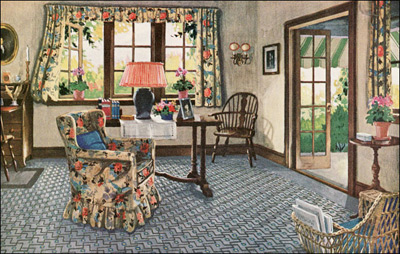 1926 Colonial Sitting Room - Blabon Linoleum
