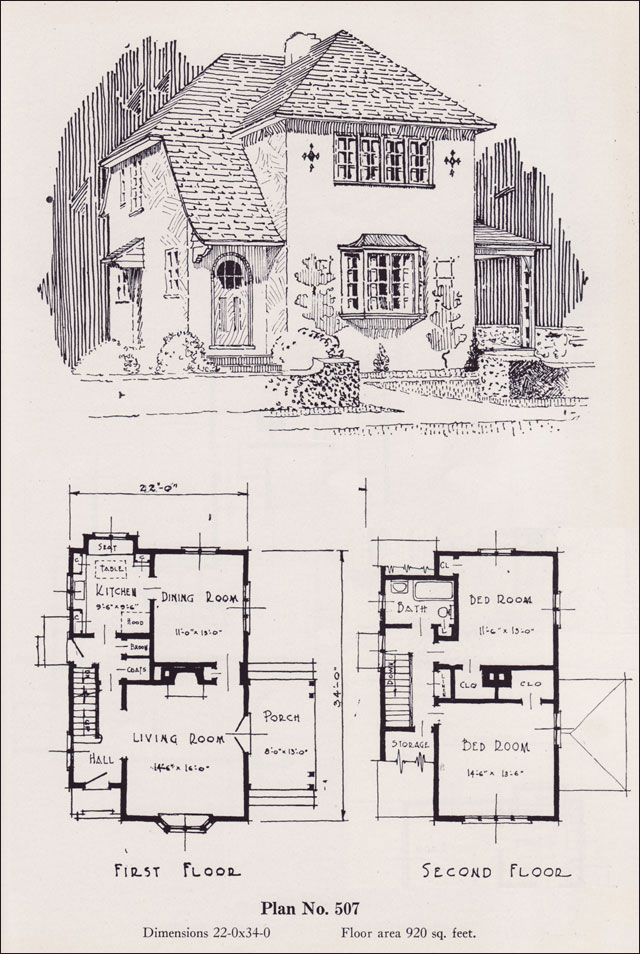 Eclectic Two Story European Revival 1926 Universal Plan