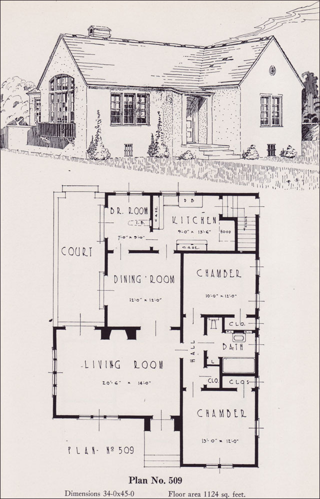 Eclectic mediterranean cottage style plan 1926 universal for House plans portland oregon