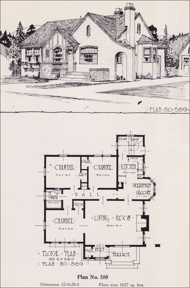 1926 universal plan service no 589 english tudor Universal house plans