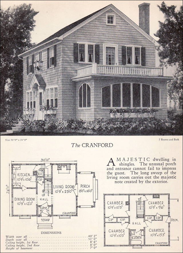 Traditional 1928 Colonial Revival House Plan The