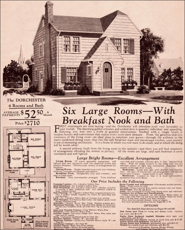 C 1930 montgomery ward dorchester wardway kit house for 1930s house plans