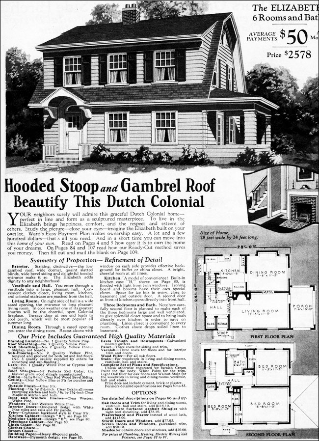 1930 dutch colonial revival elizabeth montgomery ward for Dutch colonial house plans with photos