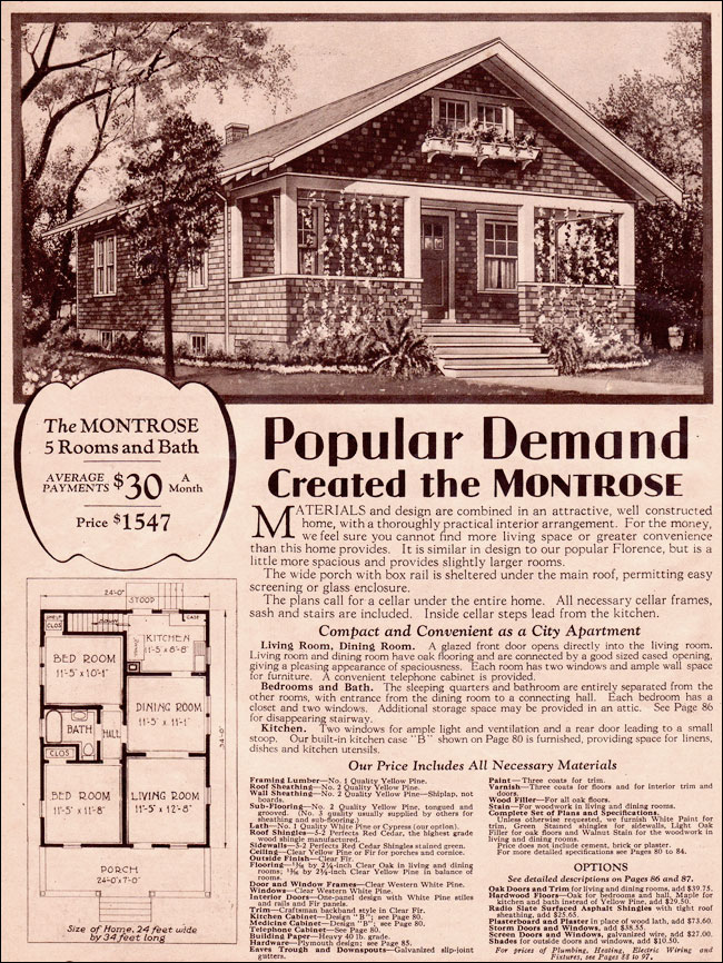 1930 Simple Bungalow Wardway Kit Homes Montrose By
