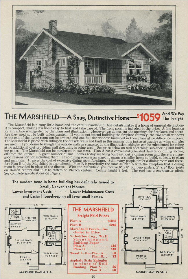1931 bungalow cottage aladdin homes the marshfield for Marshfield homes floor plans