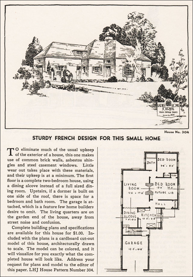 1935 french eclectic ladies home journal small house plans for Eclectic house plans