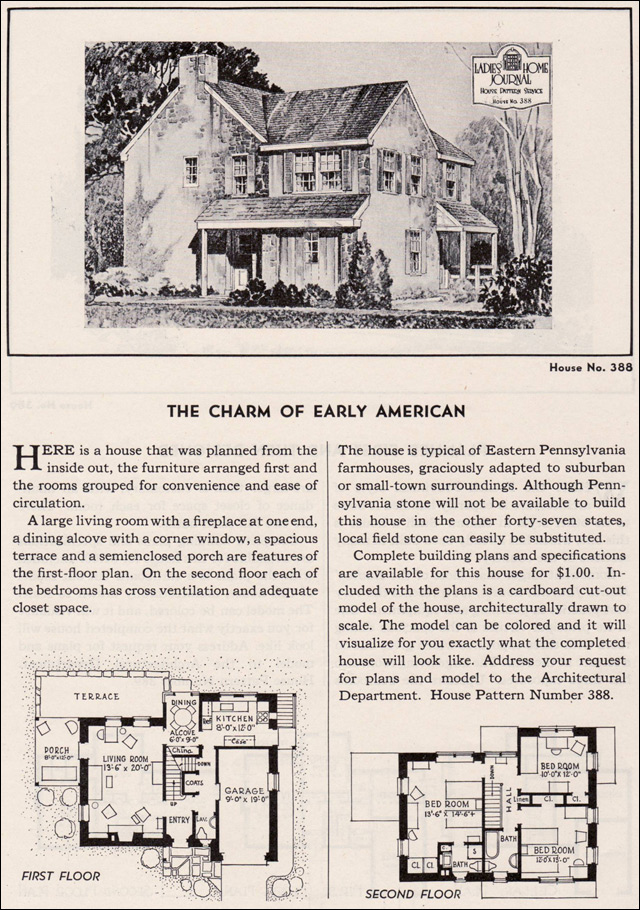1935 american stone house plan ladies home journal for Stone homes floor plans