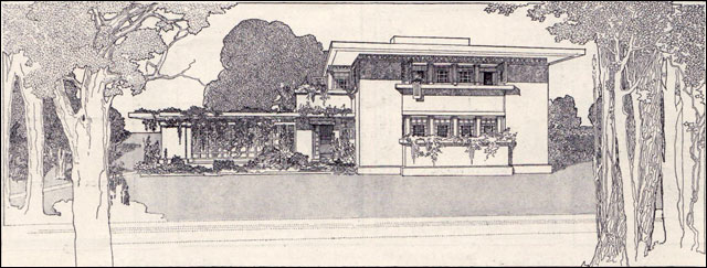 A fireproof house for 5000 frank lloyd wright 1907 for Frank lloyd wright prairie house plans