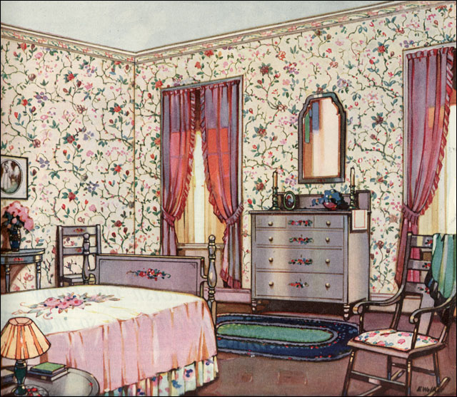 1924 floral bedroom design inspiration from 20s for Floral bedroom decor