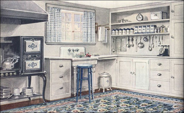 1921 Armstrong Kitchen - Linoleum Rug - White & Blue Scheme