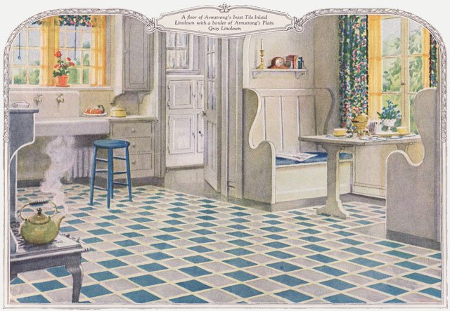 1924 armstrong linoleum ad 1920s kitchen design inspiration for Kitchen ideas for 1920s house