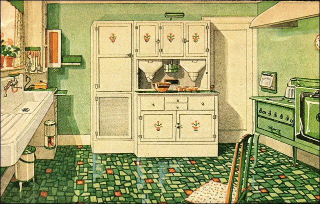 1929 green and white kitchen with built in cabinetry for 1920s style kitchen cabinets
