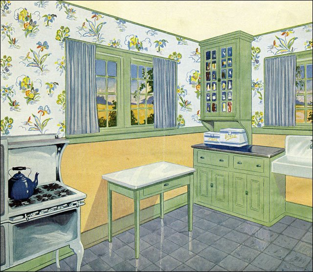 Late 1920s Kitchen In Green Yellow And Blue C 1929