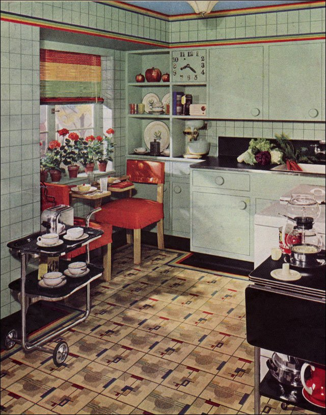 1939 armstrong kitchen design inspiration from the 1930s for Modern kitchen in 1930s house