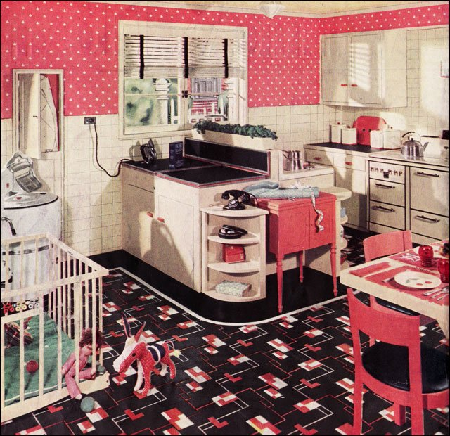 Vintage Pink Polka Dot Kitchen From 1936 Armstrong Kitchen Design