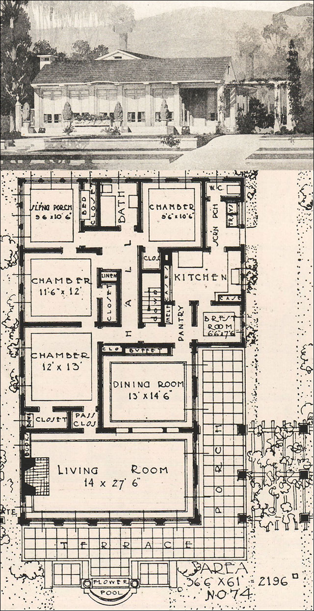 1916 low profile california modern ideal homes in garden for House plans ca