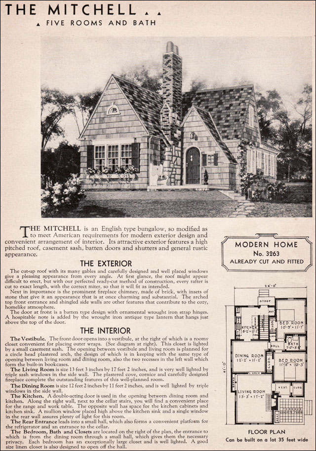 1936 Sears Mitchell Kit House English Cottage Style