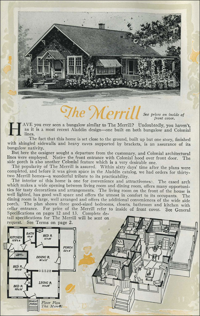 1920 Cottage Bungalow The Merrill Aladdin Homes
