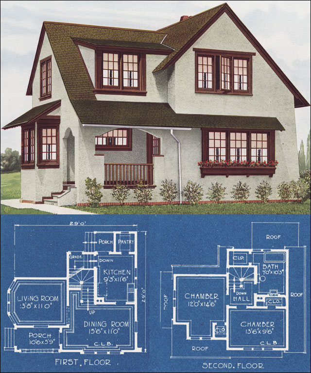 Modern english house in stucco 1921 c l bowes for American home builders floor plans