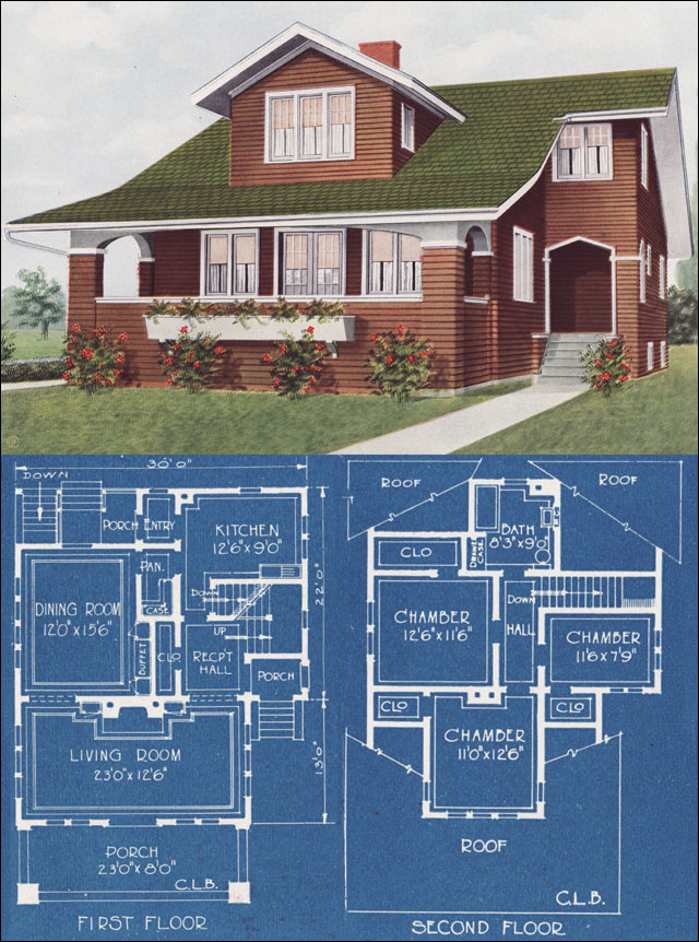 1921 modern bungalow type house c l bowes american for American home floor plans