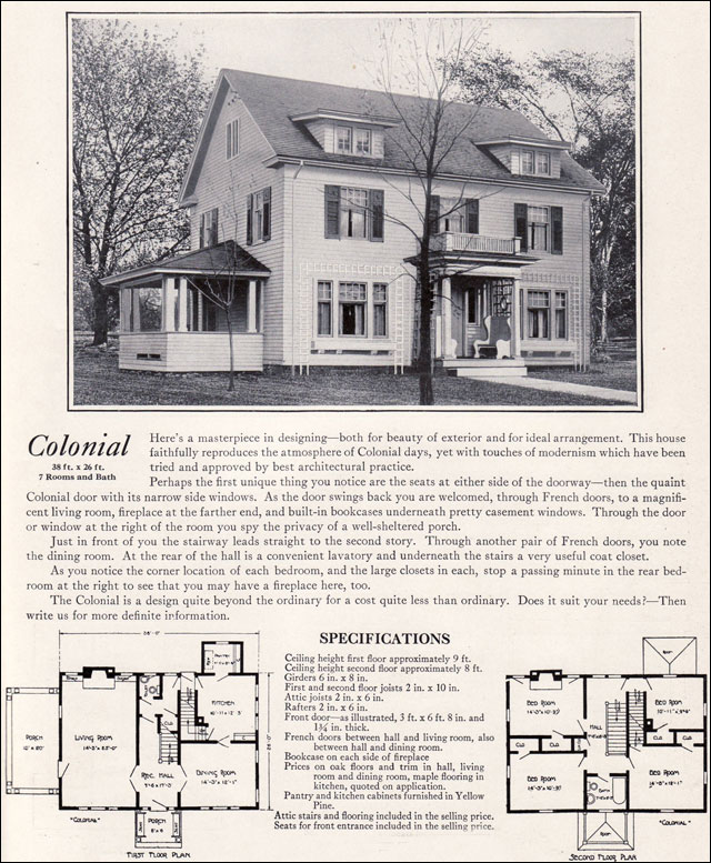 1922 colonial revival 1920s kit houses by bennett homes for Floor plans for colonial homes