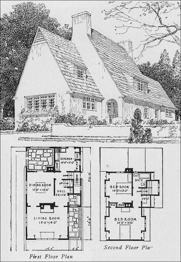1920s english cottage small homes books of a thousand for Cottage layout design