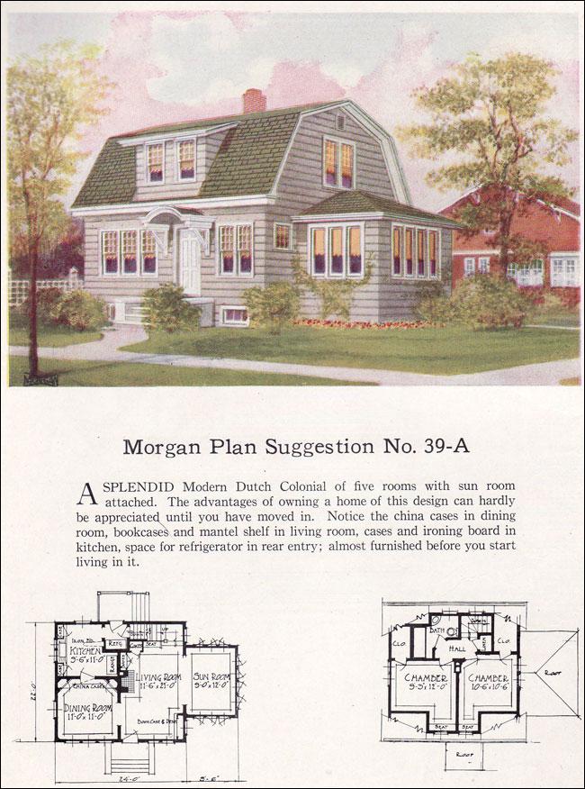 1923 Dutch Colonial Revival Gambrel Roof Morgan No 39 A