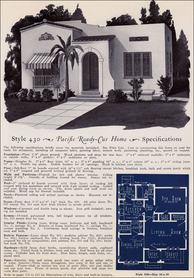 1925 Spanish Eclectic - Pacific Ready Cut Home Design No