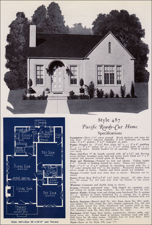 Modern Stucco Cottage 1925 Pacific Ready Cut Homes No 487