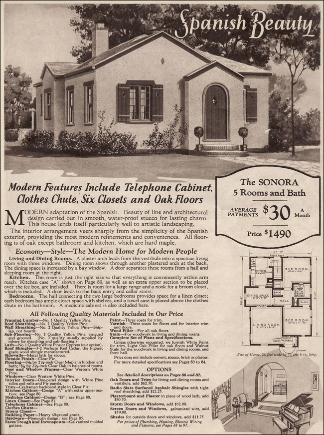 Wardway Kit Houses 1930 Sonora Spanish Style Stucco