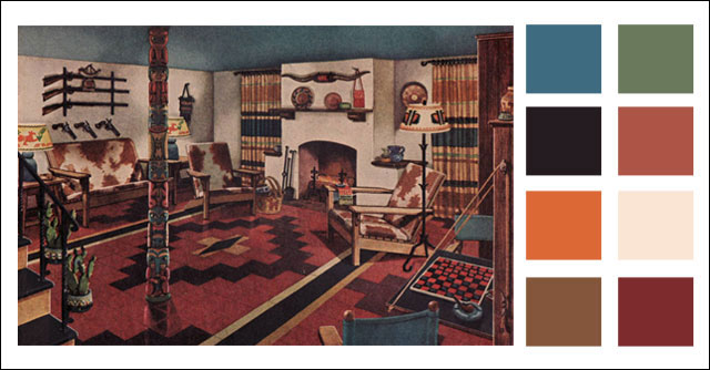 1945 Armstrong Man Cave Mid Century Basement Color
