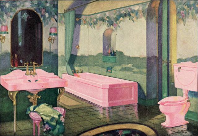 1928 Standard Bathroom Opulent Pink Fixtures And A