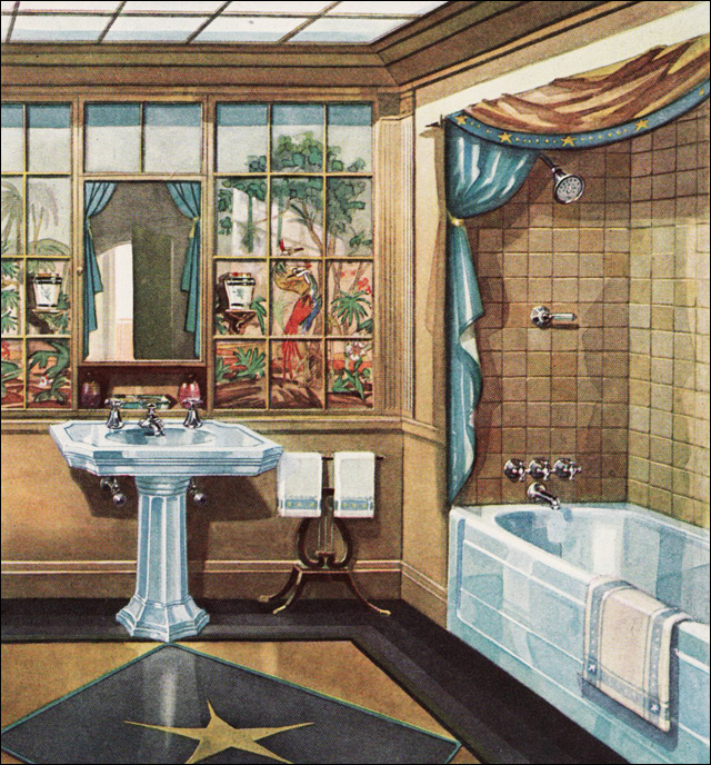 1929 Crane Bathroom Vintage Plumbing Fixtures Modern American Bathroom Tan Light Blue