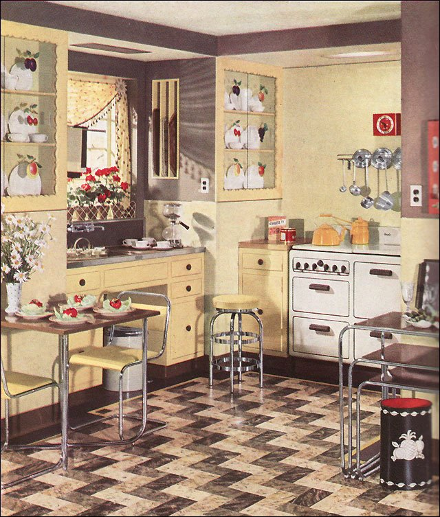 armstrong yellow kitchen | 1936 Armstrong Linoleum Flooring Ad for a Modern Yellow ...
